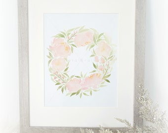 I Love You Forever (Pink Peony Wreath Watercolor Print)