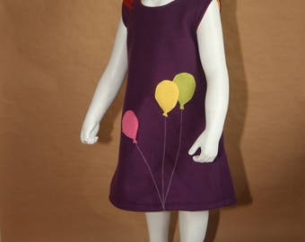 Kermesse - Little girl dress in purple fleece - 3 years old