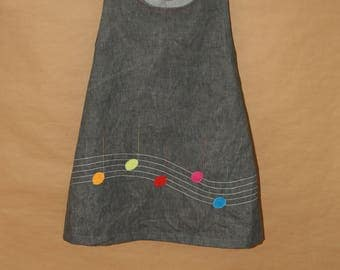 Fassila - Girl 6 years, gray, lined in cotton dress
