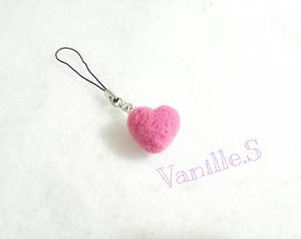 Needle Felted Heart Keychain, Gift for Her, Wedding Gift, Valentine Gift, Small Gift