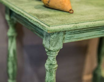 Wooden Coffee Table Painted With Lime Technique In Shades Of Green