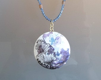 Porcelain hand painted pendant necklace