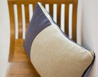 Velvet Divide Lumbar Pillow (Blue)