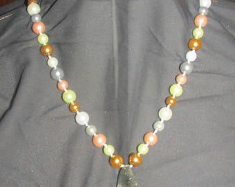 Large Smoky Quartz Teardrop Multi-Pearl Beaded Necklace