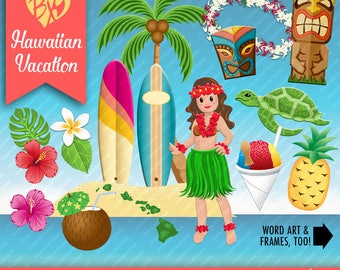 Hawaiian Vacation CLIP ART ONLY