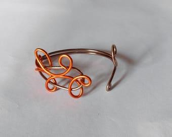 Brown and orange aluminum Wire Bracelet