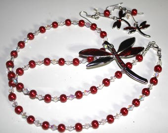 Red and Silver Dragonfly Necklace and Earring Set
