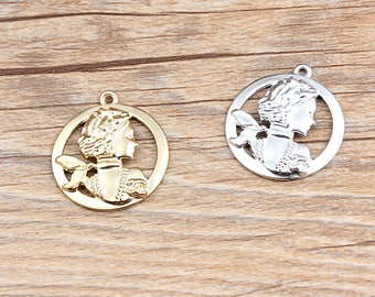10pcs Chanel Inspired Charm CoCo Charm Fashion Lady Charm  Portrait Coin Charm Unique DIY Supplies Gift for Her Coco Camellia