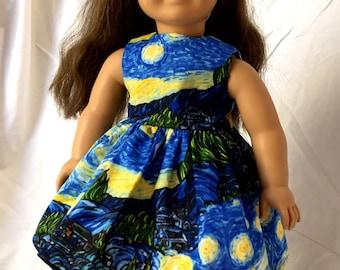 18 Inch Doll Clothes, AG Doll Dress, Handmade Summer Van Gogh Starry Night Dress for American Girl Doll