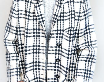 Vintage 1980s French Black and Off-White Checkered Coat