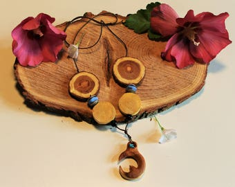 Ethnic necklace wood stone beads blue carved hand painted organic
