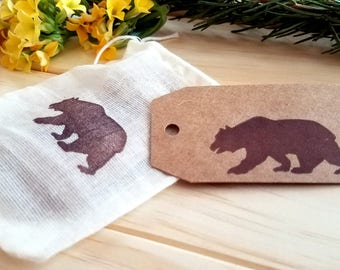 Bear Gift Tags | set of 10, handmade Kraft gift tag, gift wrapping, packaging