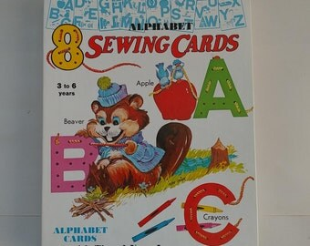 Vintage Children's Sewing Cards 1972 ABCs Alphabet Yarn Laces Mixed Media Altered Repurposed Art Cardmaking Crafts