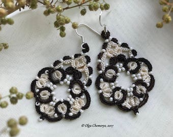 Chocolate earrings, Tatting earrings, Tatted earrings, Lace earrings, Tatted, Tatting, Tatting jewelry, Tatting lace, Tat earrings, Wedding
