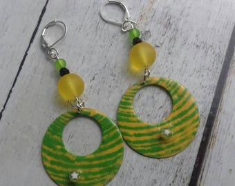 Osiris, grass green and Yellow Sun, copper earrings enameled