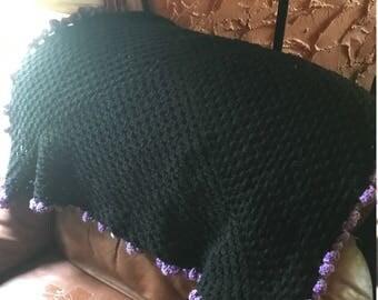 Granny square blanket, Black afghan, purple and pink edging, Baby Blanket,