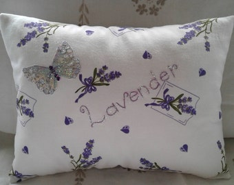 Lavender/butterfly cushion