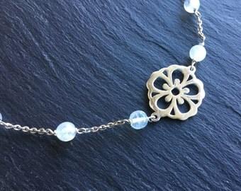 Moonstone bracelet in 925 sterling silver sakura cherry blossom