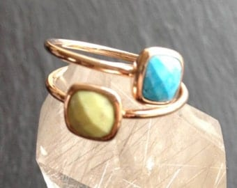 Green or turquoise gemstone gold plated ring