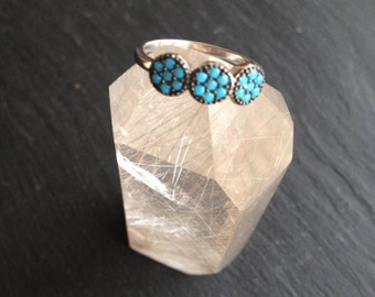 Sterling Silver ring 3 flowers turquoise