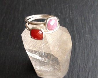Fine silver rings solid stone natural carnelian and purple