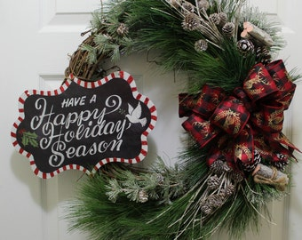 Front Door Christmas Wreath |Frosted Pine Needle Holiday Wreath