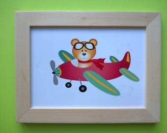 Decoration for children's room: Pilot bear, red, green and yellow colors