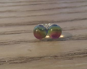 Authentic Mexican Glass Studs. Multicolor crystal.