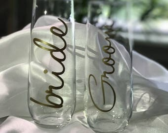 Stemless Champagne Flute / Bridesmaid Gift / Wedding