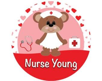 Loving Bear Nurse Button - Nurse Bear Button - Nursing Pin - School Button - Medical Button