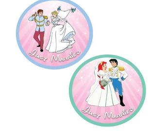 Cinderella Wedding Just Married Button - Ariel and Eric Just Married Button - Disney Park Button - Just Married Button - Wedding Button