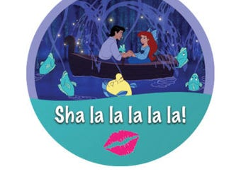 Ariel and Prince Eric Button - The Little Mermaid Badge - Kiss the Girl Button -  Lovers Badge - Couples Button - Disney Park Pin - Lanyard