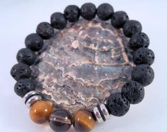 Gemstone bracelet for him made of lava, eye, smoke quartz and stainless steel