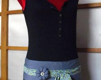 Belt obi flower blue cotton chambray