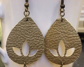 Gold Lotus Cutout Earrings - Faux Leather