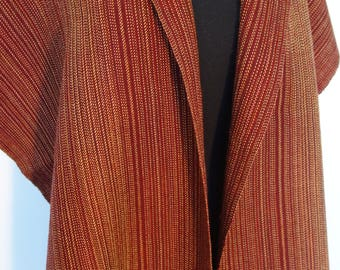 Burgandy wool and tencel handwoven wrap