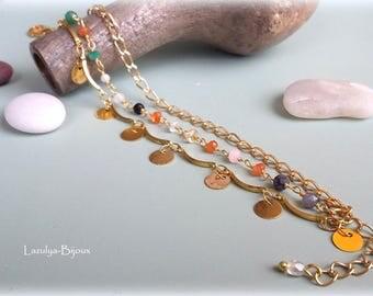 "Triple bracelet ""Mix of gems stones"""
