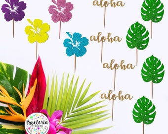 Hawaiian cupcake toppers, luau party decor, hibiscus cupcake toppers, Hawaiian cupcakes, birthday luau, luau party decor, monstera leaves