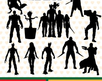 Guardians of the galaxy silhouettes sale, eps, svg, png and jpg files high resolution CL-SP-026