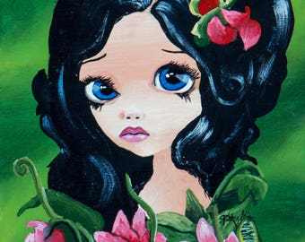 Blue Eyed Girl with Venus Flytrap
