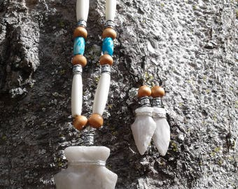 Novaculite Arrowhead Pendant Necklace and Earring Set