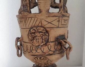 ANCIENT ROMAN KRATER - Vase - Gorgona Meduza - Pottery- Replica