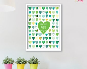 POSTER hearts green girl love quote POSTER