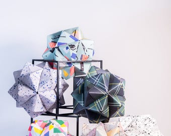 Geometric | Collection of Six Sculptures | Modular Origami | Paper Sculpture | Nursery Decor | Anniversary Gift | Wedding Gift
