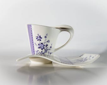 White & Purple Tea/Coffee Cups and Rectangle Saucers - Set of 6