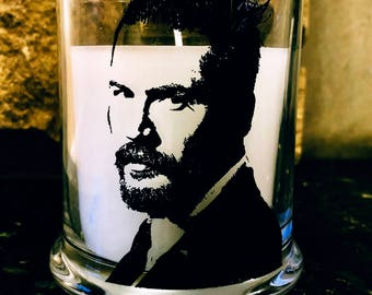 Tom Hardy Lavender Scented Glass Jar White Wax Pillar Candle