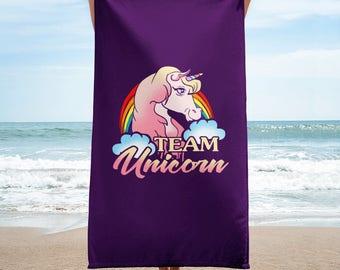 Team Unicorn Beach Towel