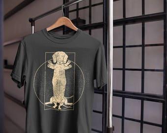 Dachshund T-Shirt - Funny Dachshund Gifts - Vitruvian Man Dachshund Shirt - Wiener Dog T Shirt