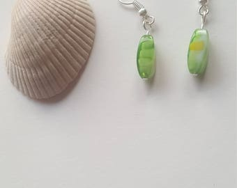 Green Dangle / Green beaded Earrings