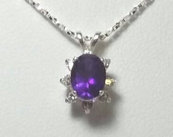 Sterling Silver Amethyst & Lab Sapphire Pendant